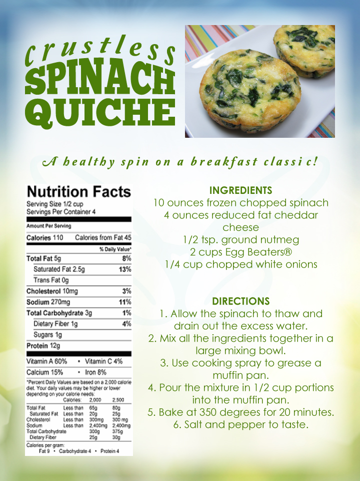 Crustless Spinach Quiche Recipe Contemporary Health Center