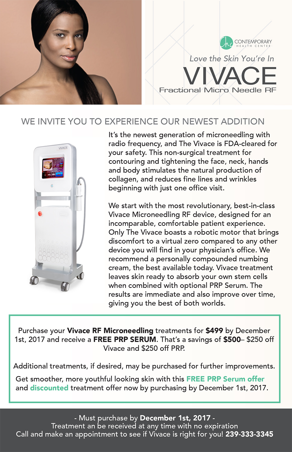 Vivace RF Microneedling treatments for $499 by December 1st